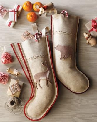 Woodland Animal Burlap Stockings from Martha Stewart