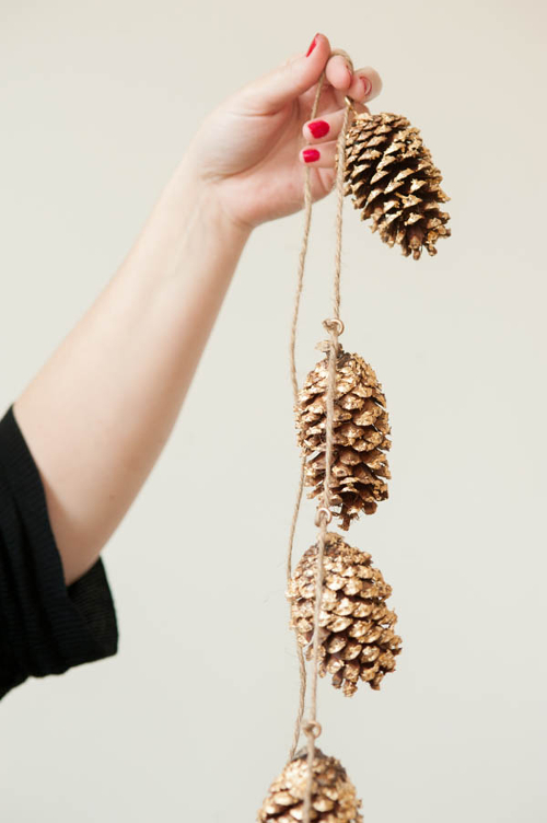 Gold Leaf Pine Cone Garland from The Sweetest Occasion