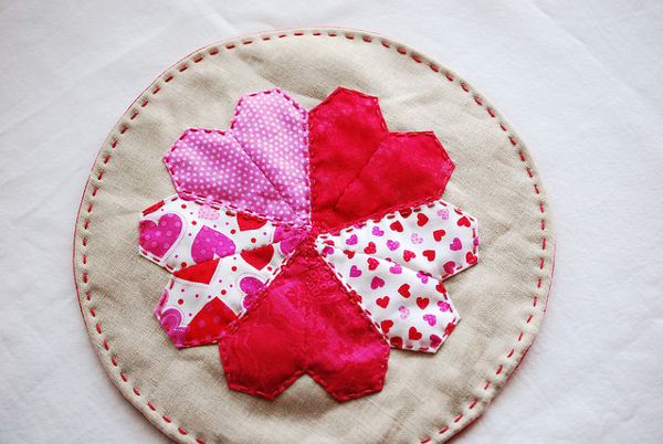 Paper Pieced Quilted Heart Mat from Wild Olive