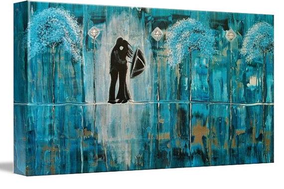 Turquoise Rain Romance by AmberElizabethArt