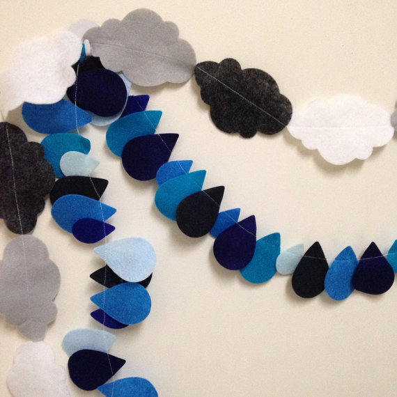 Cloud and Rain Felt Garland by OhMyDeerLove