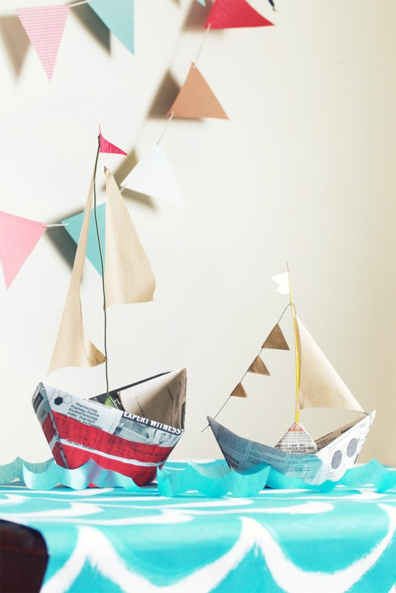 Newspaper Boats from Diaper Style Memoirs