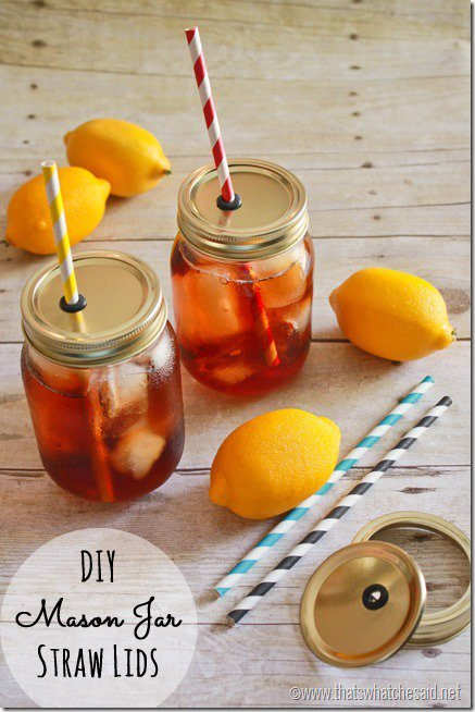 Mason Jar Straw Lids DIY from That's What Che Said