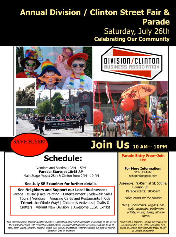 Division/Clinton Street Fair July 26th