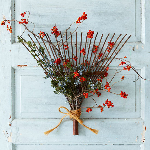 Juniper and Bittersweet Rake Wreath from Better Homes & Gardens
