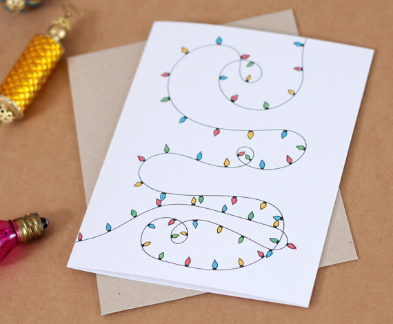 Illustrated Christmas Lights Card from acbc Design