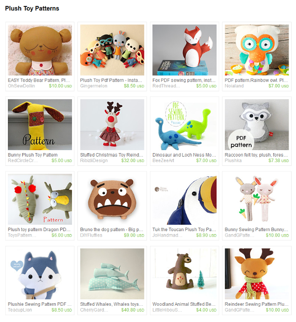 Plush Toy Patterns on Etsy