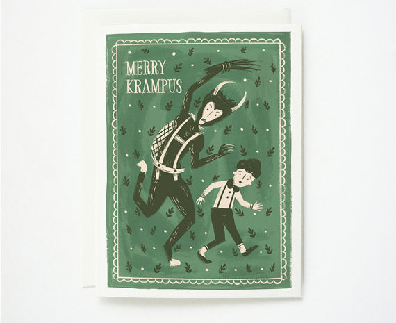 Merry Krampus Christmas Card from Quill and Fox