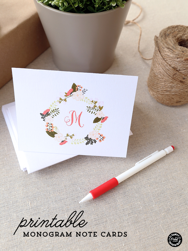 Monogrammed Printable Note Cards