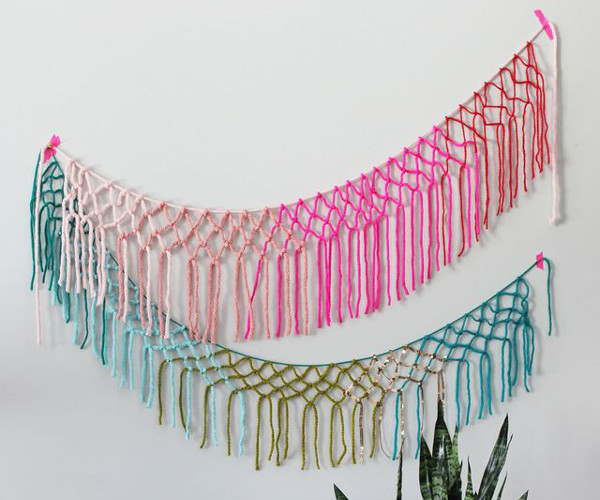 Macrame Yarn Garland DIY from A Beautiful Mess