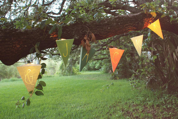 DIY Lighted Paper Pennant Garland from Once Wed