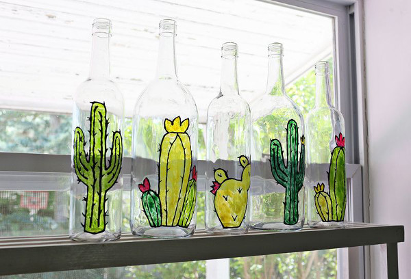 DIy Faux Stained Glass Bottles from A Beautiful Mess