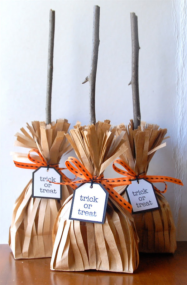 Witches Broom Treat Bags from Two Crafting Sisters