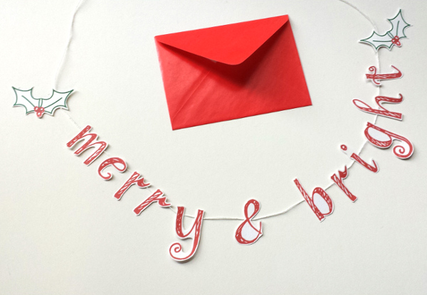 Printable Christmas Card Garland | Red Circle Crafts