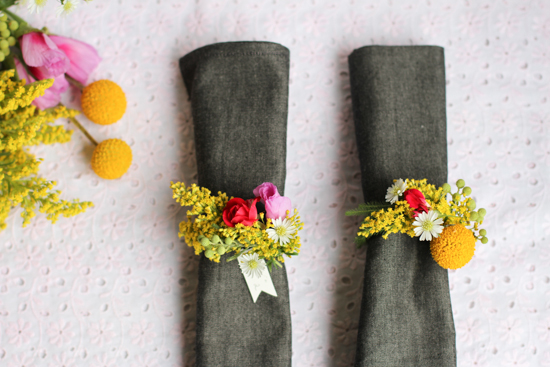 Fresh Flower Napkin Rings from Paper & Stitch
